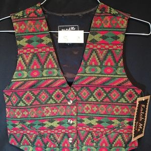 Katch Me Tapestry Rancher Western Rodeo Vest S C